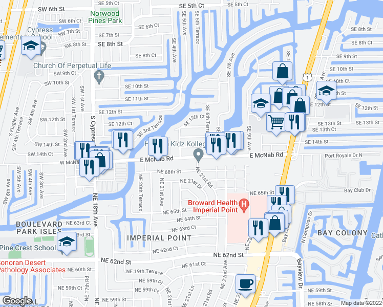 map of restaurants, bars, coffee shops, grocery stores, and more near 540 East McNab Road in Pompano Beach