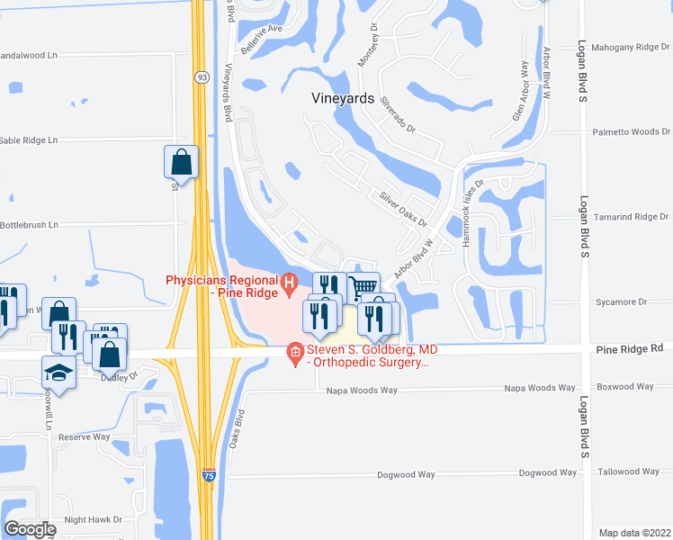 map of restaurants, bars, coffee shops, grocery stores, and more near 6010 Chardonnay Lane in Naples