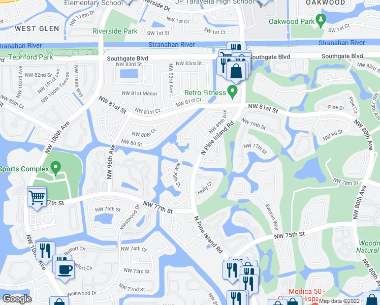 map of restaurants, bars, coffee shops, grocery stores, and more near 8800 Northwest 78th Court in Tamarac