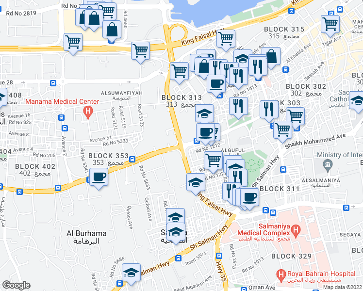 map of restaurants, bars, coffee shops, grocery stores, and more near in Manama