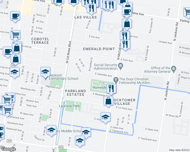map of restaurants, bars, coffee shops, grocery stores, and more near 300 East Camellia Avenue in McAllen