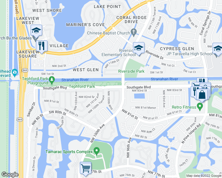map of restaurants, bars, coffee shops, grocery stores, and more near 10007 Northwest 83rd Street in Tamarac