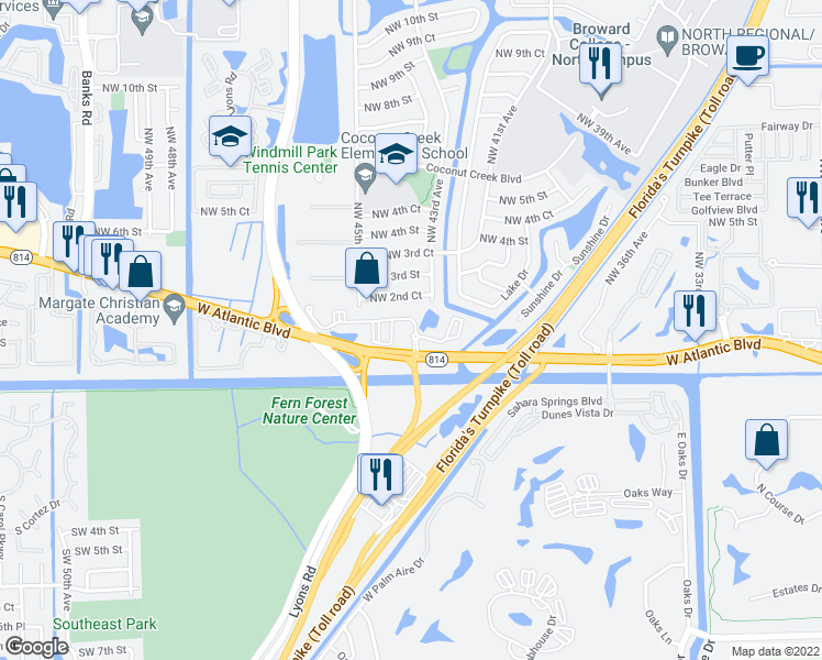 map of restaurants, bars, coffee shops, grocery stores, and more near 4303 West Atlantic Boulevard in Coconut Creek