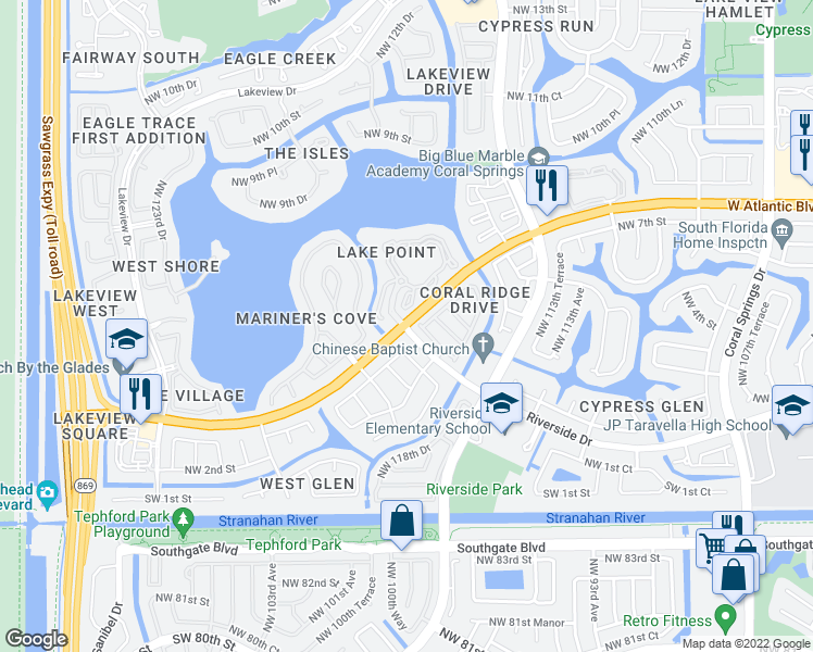 Map Of Florida Showing Coral Springs.West Atlantic Boulevard Riverside Drive Coral Springs Fl Walk Score