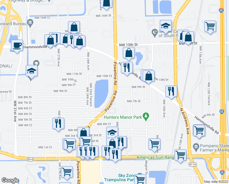 map of restaurants, bars, coffee shops, grocery stores, and more near 2105 Northwest 8th Street in Pompano Beach