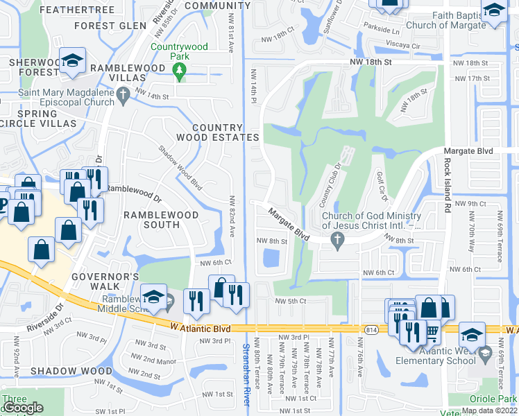 map of restaurants, bars, coffee shops, grocery stores, and more near 8095-8099 Margate Boulevard in Pompano Beach