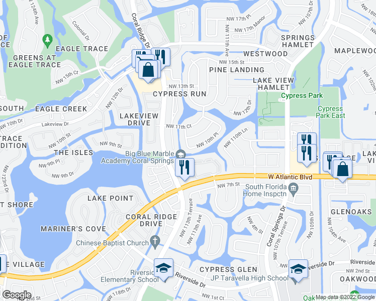 map of restaurants, bars, coffee shops, grocery stores, and more near 11362 Northwest 10th Place in Coral Springs
