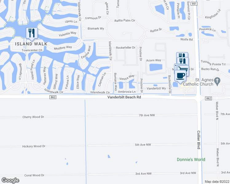 map of restaurants, bars, coffee shops, grocery stores, and more near 7020 Ambrosia Lane in Naples