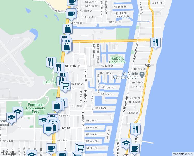 Map Of Pompano Beach Florida.1071 Northeast 27th Terrace Pompano Beach Fl Walk Score