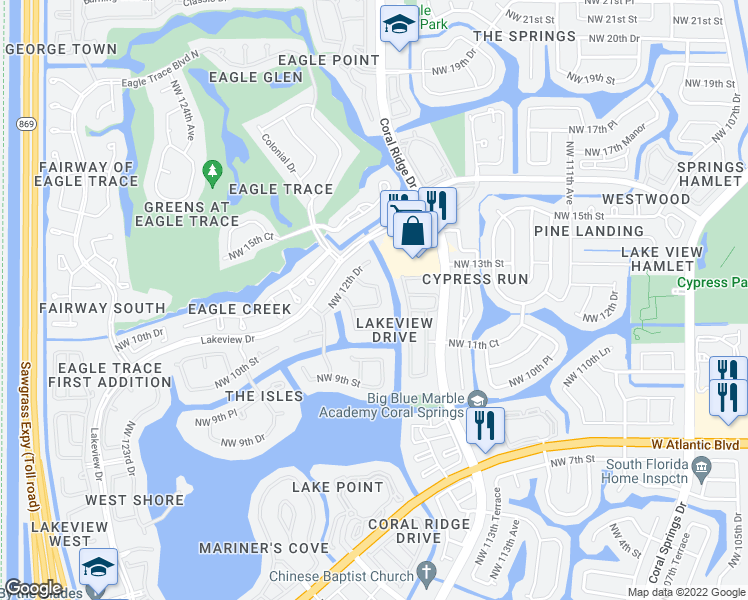 map of restaurants, bars, coffee shops, grocery stores, and more near 11823 Northwest 11th Place in Coral Springs