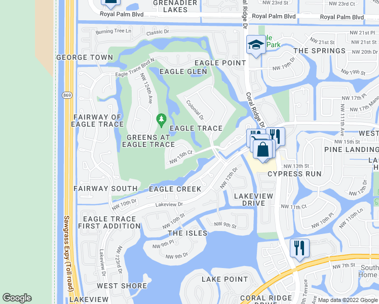 map of restaurants, bars, coffee shops, grocery stores, and more near 12130 Northwest 15th Court in Coral Springs