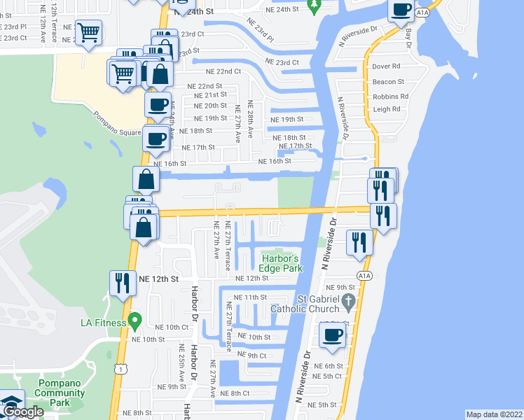 map of restaurants, bars, coffee shops, grocery stores, and more near 2731 Northeast 14th Street in Pompano Beach