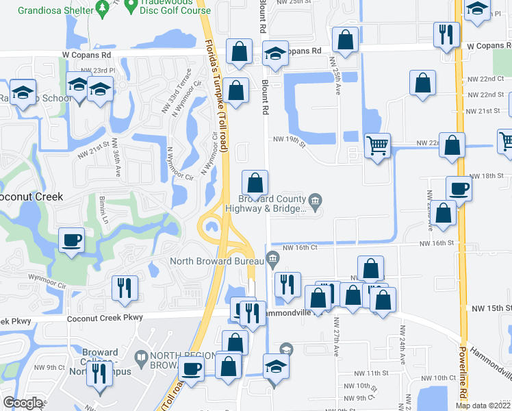 map of restaurants, bars, coffee shops, grocery stores, and more near 1751 Blount Road in Pompano Beach