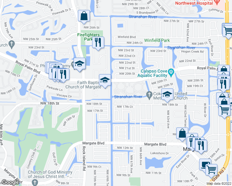 map of restaurants, bars, coffee shops, grocery stores, and more near 6870 Royal Palm Boulevard in Margate