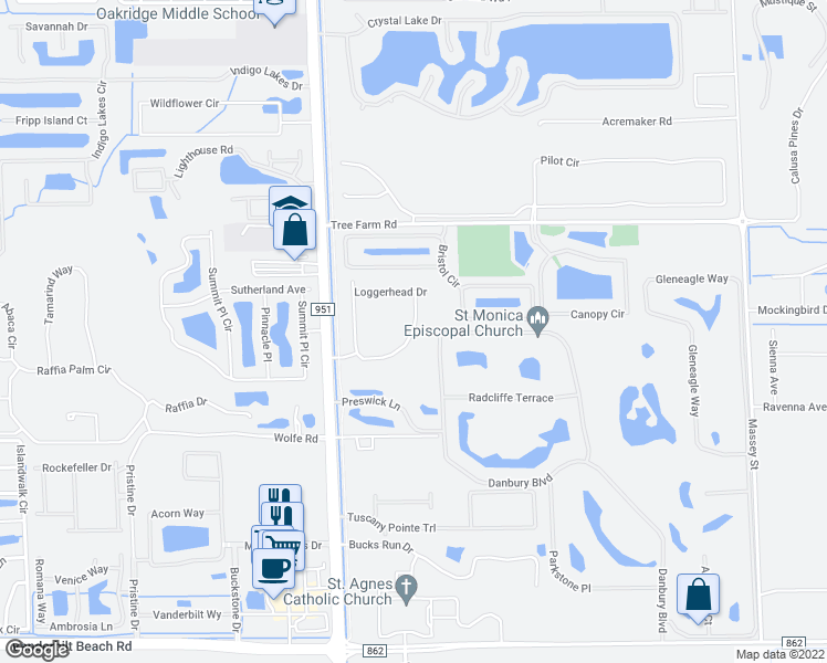 map of restaurants, bars, coffee shops, grocery stores, and more near 14764 Kingfisher Loop in Naples