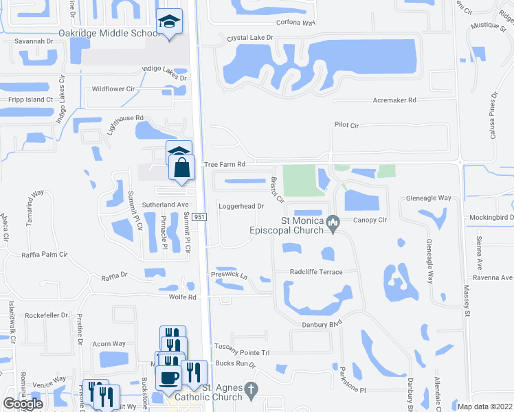 map of restaurants, bars, coffee shops, grocery stores, and more near Loggerhead Drive in Collier County