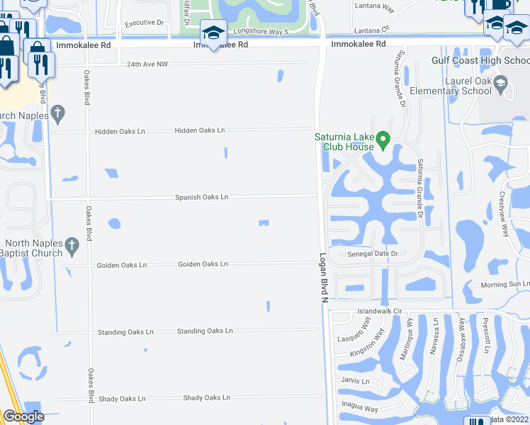 map of restaurants, bars, coffee shops, grocery stores, and more near 5780 Spanish Oaks Lane in Naples