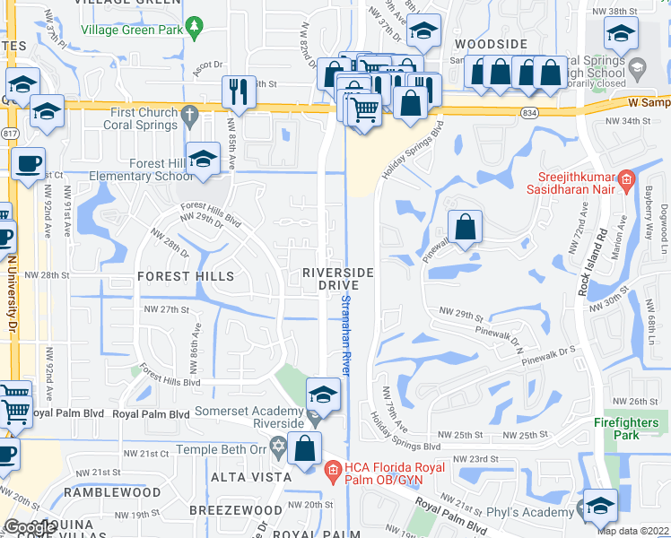 map of restaurants, bars, coffee shops, grocery stores, and more near 2801 Northwest 81st Avenue in Coral Springs