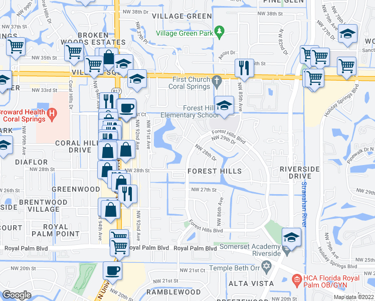 map of restaurants, bars, coffee shops, grocery stores, and more near 2940 Forest Hills Boulevard in Coral Springs