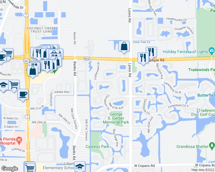 map of restaurants, bars, coffee shops, grocery stores, and more near 3952 Cocoplum Circle in Coconut Creek