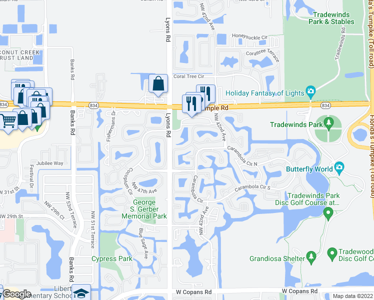 map of restaurants, bars, coffee shops, grocery stores, and more near 3400-3462 Lyons Road in Coconut Creek