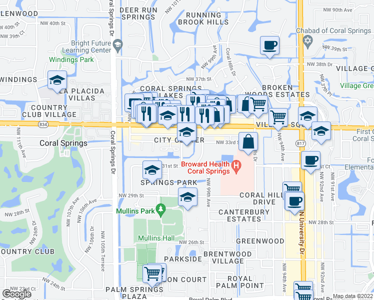 map of restaurants, bars, coffee shops, grocery stores, and more near in Coral Springs