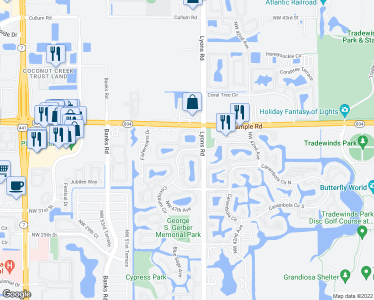 map of restaurants, bars, coffee shops, grocery stores, and more near Cocoplum Circle in Coconut Creek