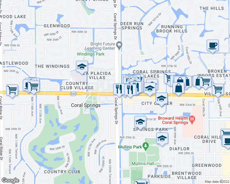 map of restaurants, bars, coffee shops, grocery stores, and more near 10500-10624 West Sample Road in Coral Springs