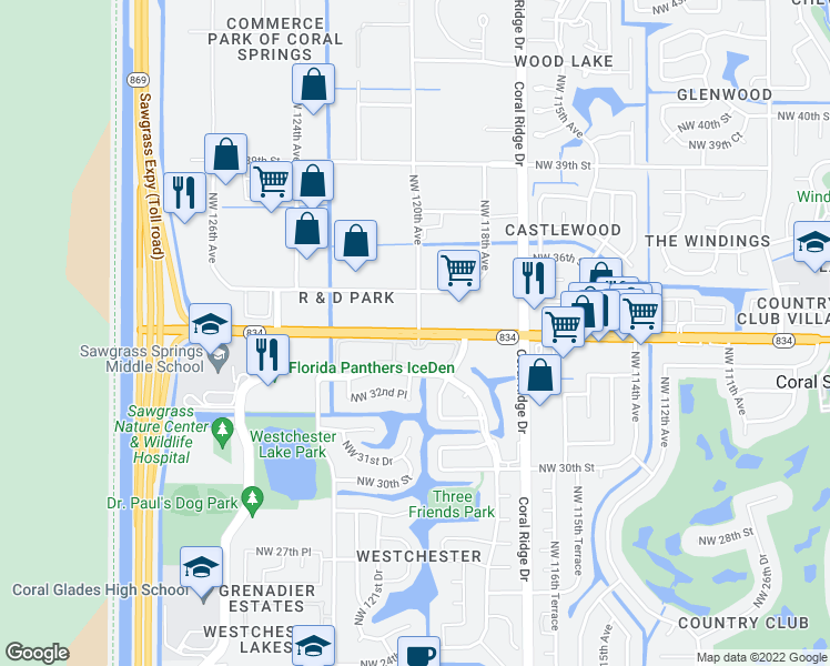 map of restaurants, bars, coffee shops, grocery stores, and more near 11922 West Sample Road in Coral Springs
