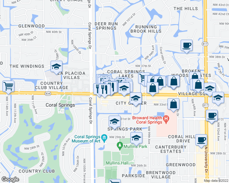 map of restaurants, bars, coffee shops, grocery stores, and more near 10251 West Sample Road in Coral Springs