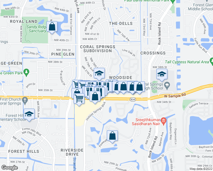 map of restaurants, bars, coffee shops, grocery stores, and more near 7752 Hibiscus Lane in Coral Springs