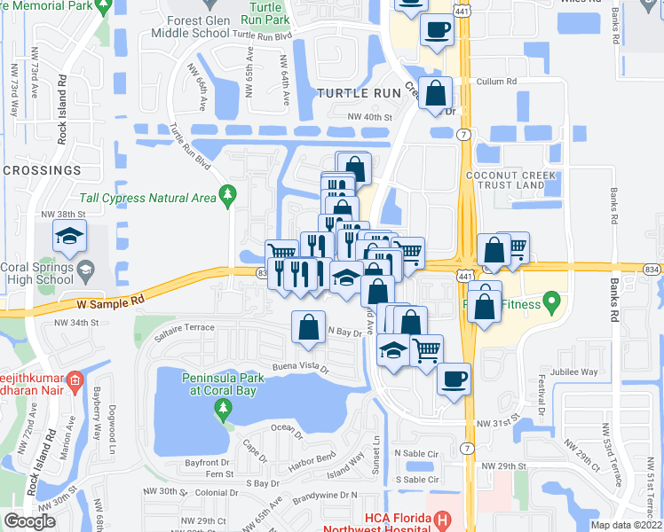 map of restaurants, bars, coffee shops, grocery stores, and more near 6093-6103 West Sample Road in Coral Springs