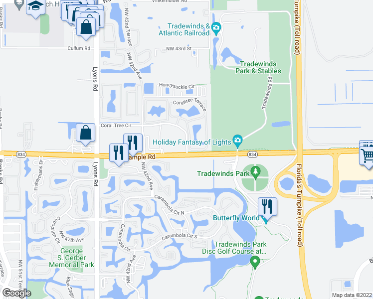 map of restaurants, bars, coffee shops, grocery stores, and more near 3767-3799 West Sample Road in Coconut Creek