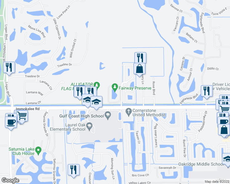map of restaurants, bars, coffee shops, grocery stores, and more near 7965 Preserve Circle in Naples