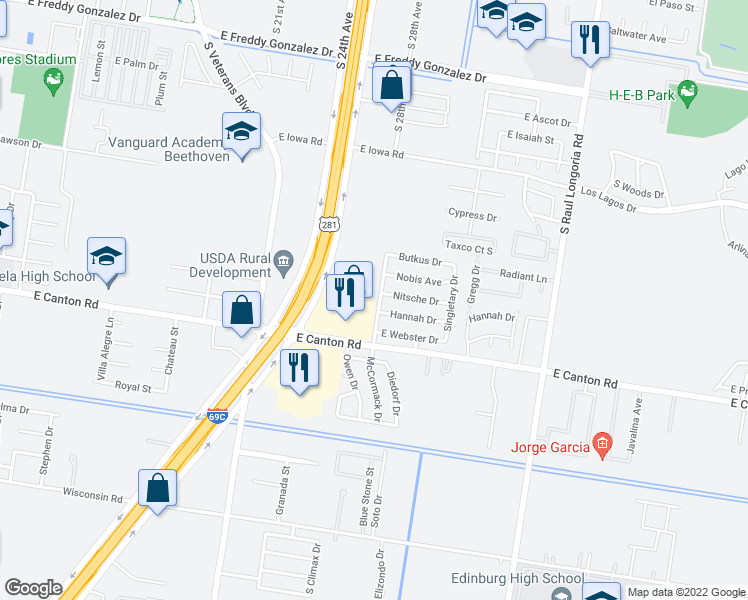 map of restaurants, bars, coffee shops, grocery stores, and more near 2609 McCormack Drive in Edinburg