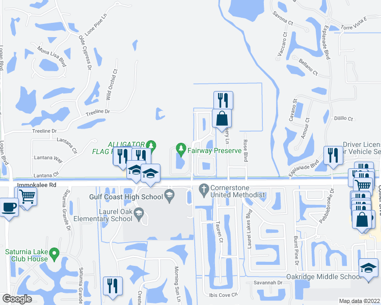 map of restaurants, bars, coffee shops, grocery stores, and more near Dream Catcher Circle in Naples
