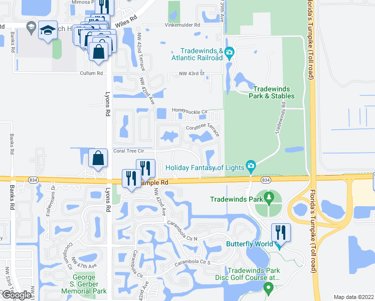 map of restaurants, bars, coffee shops, grocery stores, and more near 3887 Coral Tree Circle in Coconut Creek
