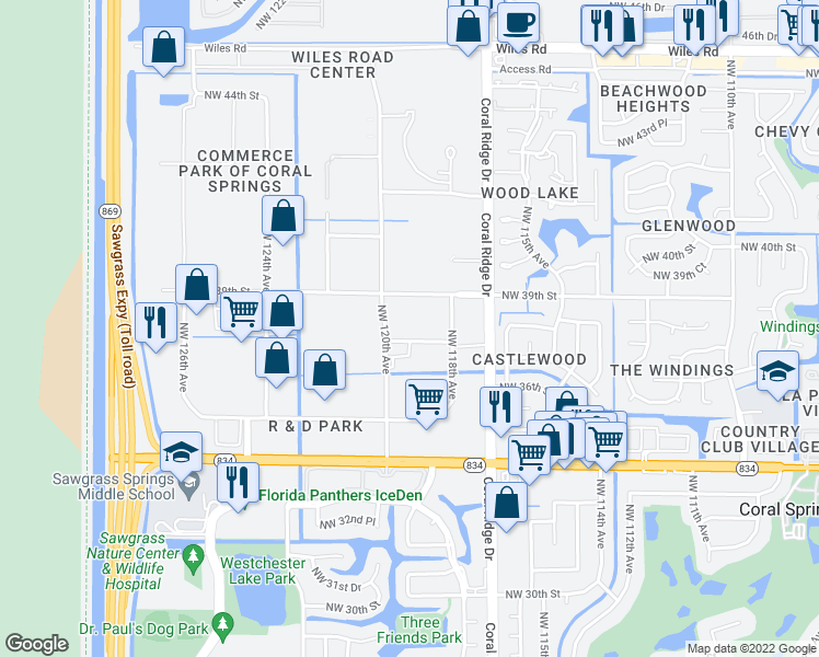 map of restaurants, bars, coffee shops, grocery stores, and more near 11943 Northwest 37th Street in Coral Springs