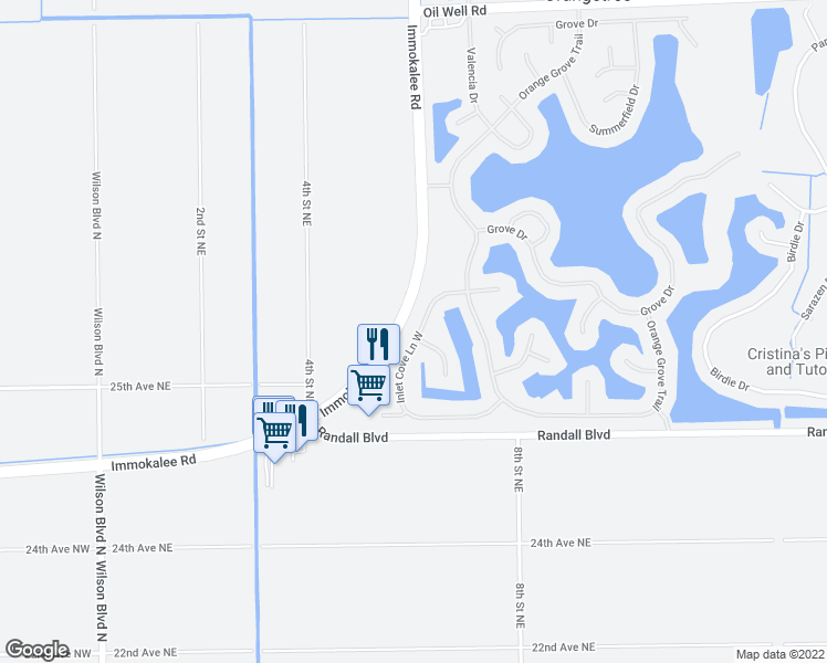 map of restaurants, bars, coffee shops, grocery stores, and more near 2861 Inlet Cove Lane West in Naples