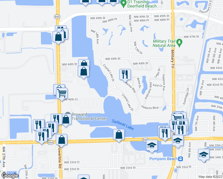 map of restaurants, bars, coffee shops, grocery stores, and more near 4179 Crystal Lake Drive in Pompano Beach