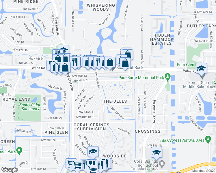 map of restaurants, bars, coffee shops, grocery stores, and more near 4326 Northwest 76th Avenue in Coral Springs