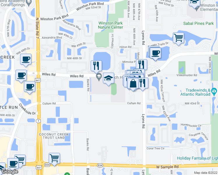 map of restaurants, bars, coffee shops, grocery stores, and more near 4874-4954 Wiles Road in Coconut Creek