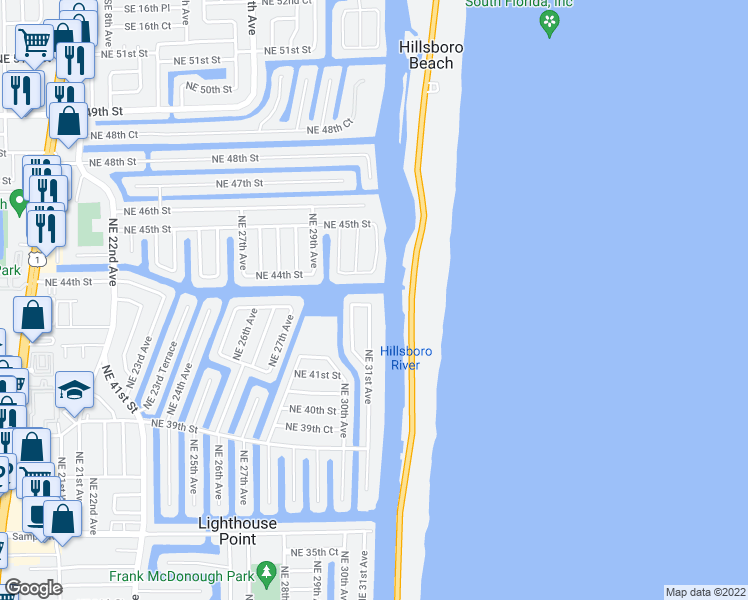 map of restaurants, bars, coffee shops, grocery stores, and more near 4240 Northeast 31st Avenue in Lighthouse Point