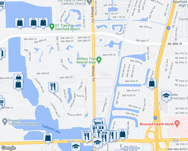 map of restaurants, bars, coffee shops, grocery stores, and more near 4361-4399 Military Trail Northwest 9th Avenue in Pompano Beach