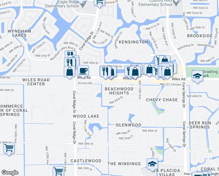 map of restaurants, bars, coffee shops, grocery stores, and more near 11330 Northwest 45th Street in Coral Springs