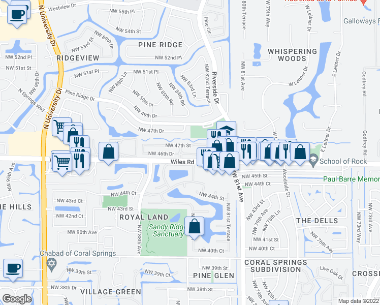 map of restaurants, bars, coffee shops, grocery stores, and more near 8435 Northwest 46th Drive in Coral Springs