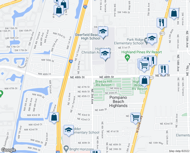 map of restaurants, bars, coffee shops, grocery stores, and more near 4876 FAU Research Park Boulevard in Pompano Beach