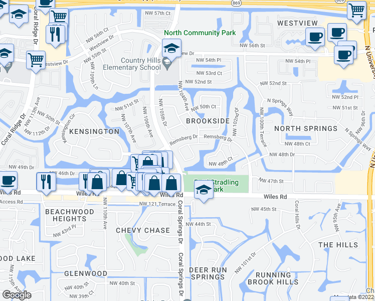 map of restaurants, bars, coffee shops, grocery stores, and more near 4851 Northwest 104th Lane in Coral Springs