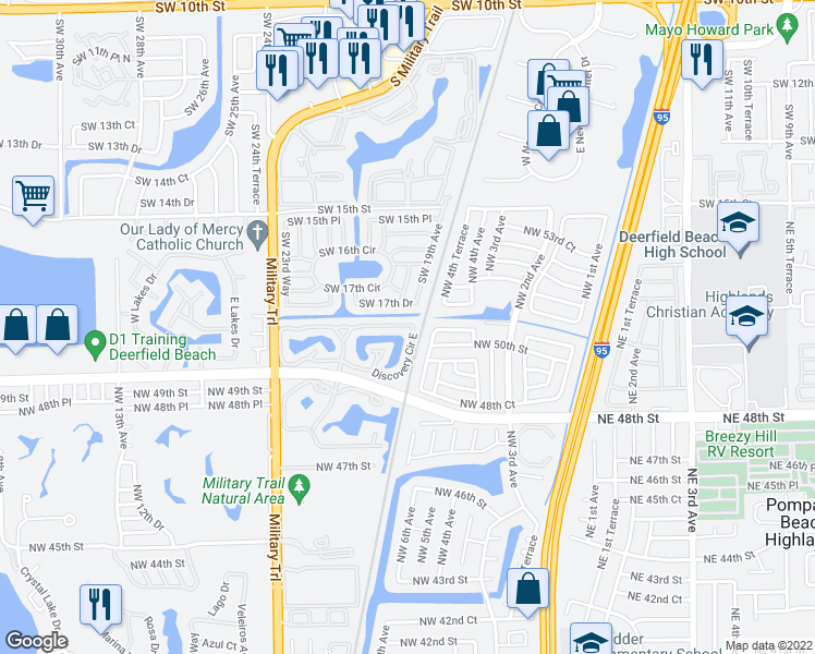 map of restaurants, bars, coffee shops, grocery stores, and more near 2005 Discovery Circle East in Deerfield Beach
