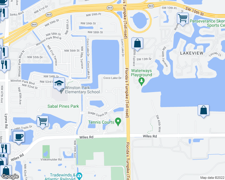 map of restaurants, bars, coffee shops, grocery stores, and more near 3677 Asperwood Circle in Coconut Creek